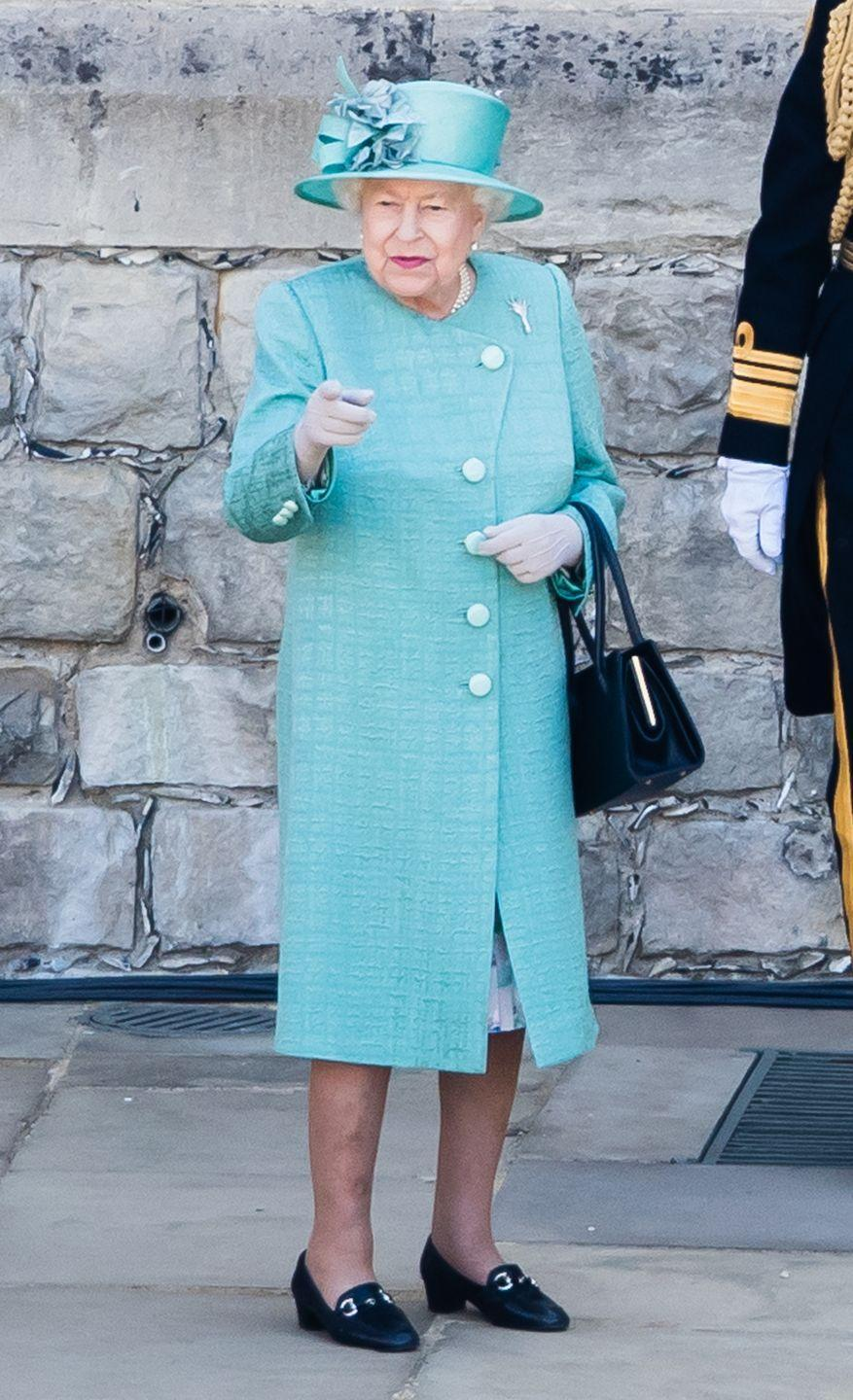 """<p>Queen Elizabeth wore a stunning coat by Stewart Parvin for her birthday celebration. She accessorized the look with a matching hat by Rachel Trevor-Morgan, per <a href=""""https://www.hellomagazine.com/fashion/royal-style/2020061391494/queen-stuns-stewart-parvin-floral-dress-trooping-the-colour/"""" rel=""""nofollow noopener"""" target=""""_blank"""" data-ylk=""""slk:Hello!"""" class=""""link rapid-noclick-resp""""><em>Hello!</em></a>.</p>"""