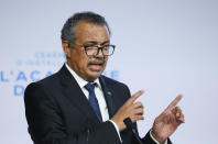 WHO Director-General Tedros Adhanom Ghebreyesus speaks during the opening of the World Health Organisation Academy in Lyon, central France, Monday, Sept. 27, 2021. (Denis Balibouse/Pool Photo via AP)