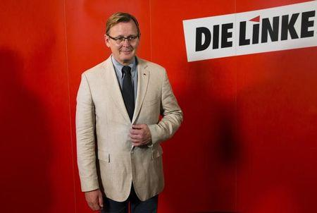 Bodo Ramelow, the Die Linke party's top candidate in Sunday's Thuringia state election, attends a news conference at the party headquarters in Berlin, September 15, 2014.  REUTERS/Thomas Peter
