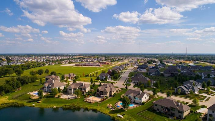 Aerial image of single family homes in Bettendorf Iowa USA.