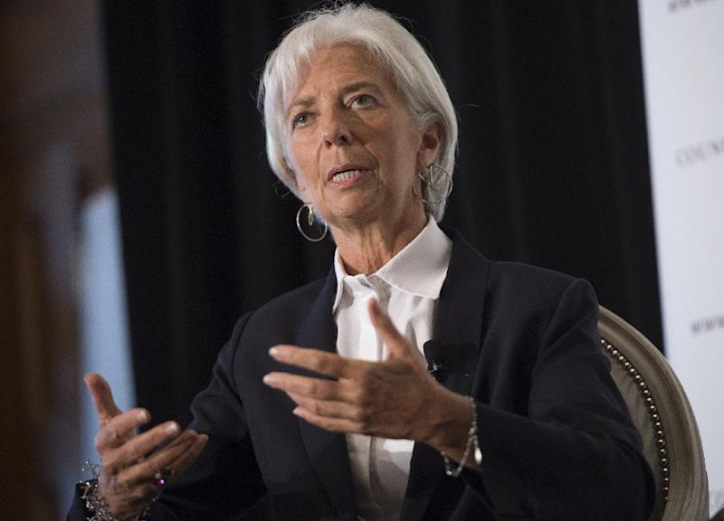IMF Managing Director Christine Lagarde speaks about the world financial situation in Washington, DC on September 30, 2015