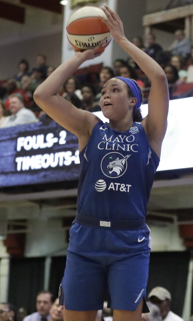 Minnesota Lynx forward Napheesa Collier shoots during the second half of the team's WNBA basketball game against the New York Liberty, Tuesday, Aug. 13, 2019, in White Plains, N.Y. The Lynx won 89-73. (AP Photo/Kathy Willens)
