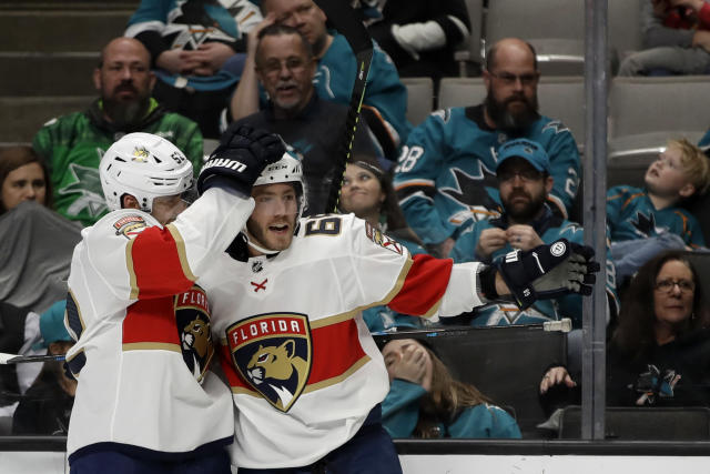 Florida Panthers' Mike Hoffman, right, celebrates after scoring a goal against the San Jose Sharks in the second period of an NHL hockey game Monday, Feb. 17, 2020, in San Jose, Calif. (AP Photo/Ben Margot)