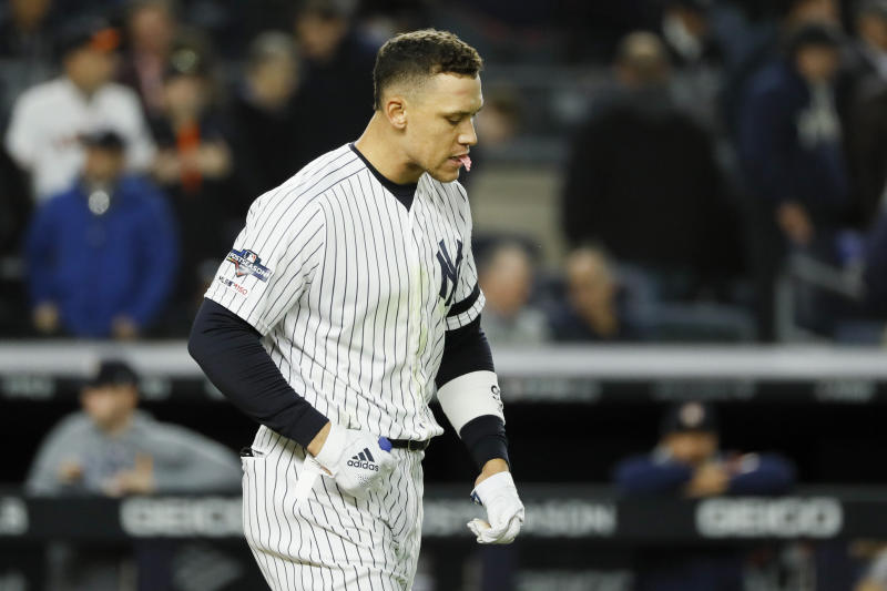 New York Yankees' Aaron Judge reacts after striking out against the Houston Astros during the sixth inning in Game 4 of baseball's American League Championship Series Thursday, Oct. 17, 2019, in New York. (AP Photo/Matt Slocum)