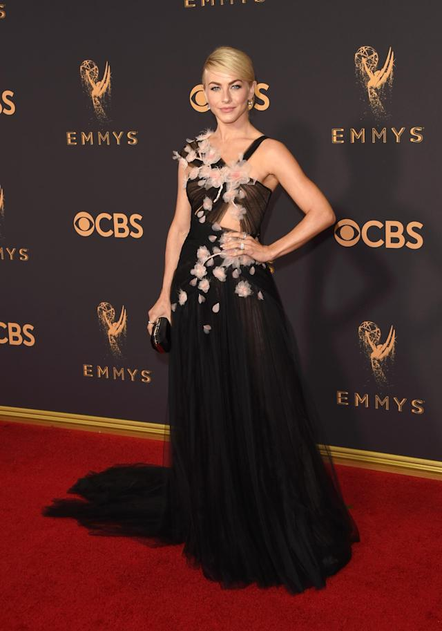 <p>This year's Emmys will be the last that Hough attends as a <em>Dancing With the Stars</em> judge, so it's fitting that she went out with a bang in a stunning Marchesa gown. (Photo: Getty Images) </p>