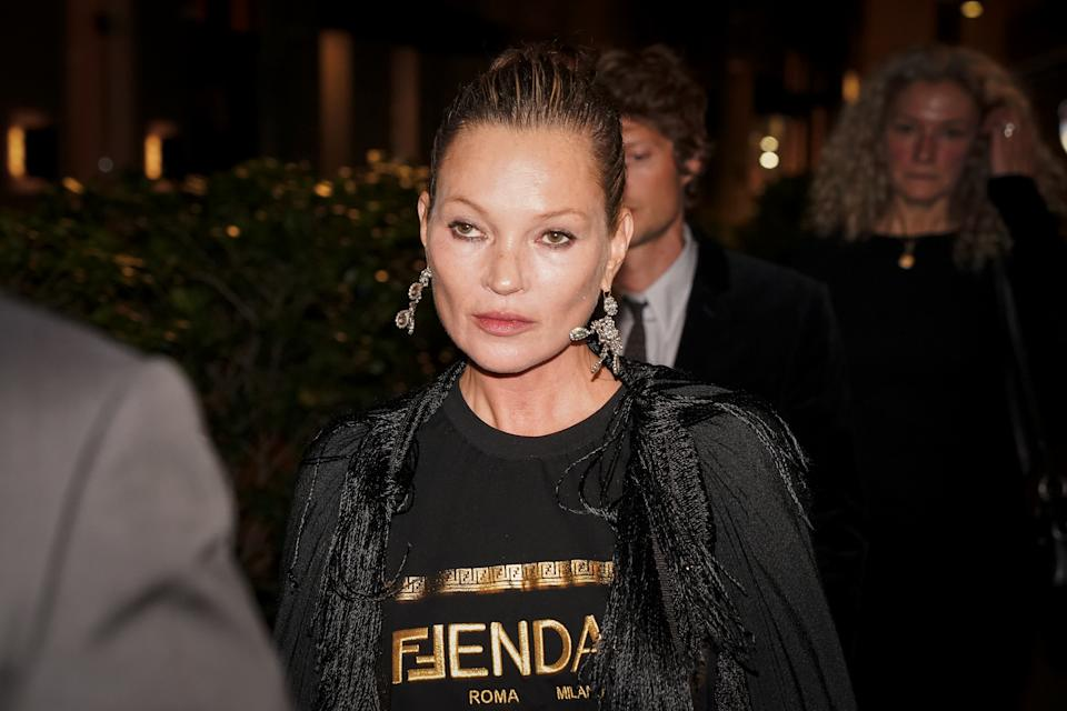 British top model Kate Moss guest at the party organized for the launch of the Fendace collection created by the collaboration between the fashion houses Fendi and Versace. Milan (Italy), September 26th, 2021 (Photo by Marco Piraccini/Mondadori Portfolio/Sipa USA)