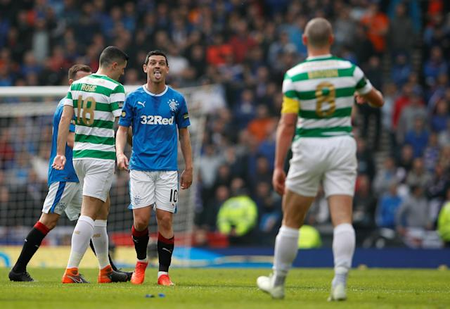 Soccer Football - Scottish Cup Semi Final - Celtic vs Rangers - Hampden Park, Glasgow, Britain - April 15, 2018 Rangers' Graham Dorrans reacts Action Images via Reuters/Lee Smith