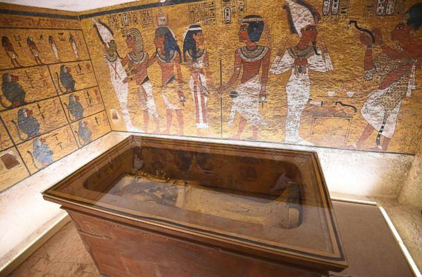 PHOTO: The golden sarcophagus of the 18th dynasty Pharaoh Tutankhamun displayed in his burial chamber in his underground tomb in the Valley of the Kings on the west bank of the Nile river opposite the southern Egyptian city of Luxor. (Mohamed El-Shahed/AFP/Getty Images)
