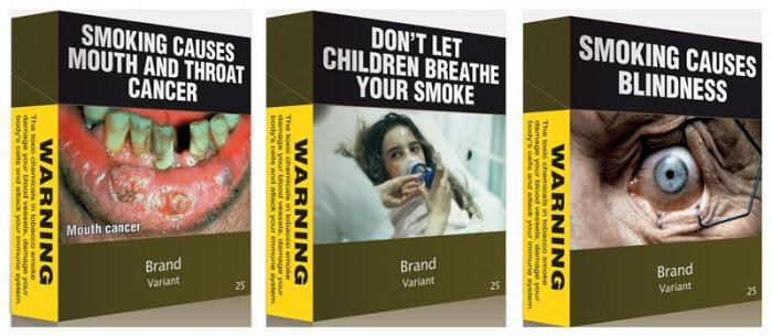 Some of the proposed models of cigarettes packs Australia has unveiled featuring plain green packaging and health warnings.