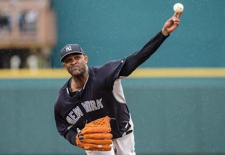 Mar 27, 2014; Bradenton, FL, USA; New York Yankees pitcher CC Sabathia (52) warms up before the start of the third inning of the spring training exhibition game against the Pittsburgh Pirates at McKechnie Field. Mandatory Credit: Jonathan Dyer-USA TODAY Sports