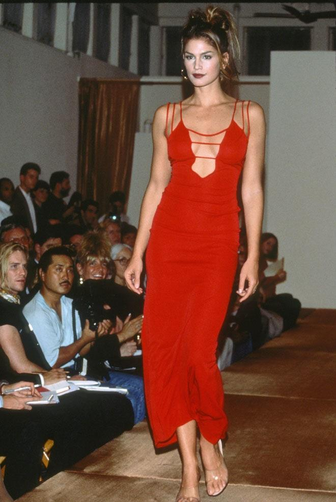 Cindy Crawford during the Giorgio Saint'Angelo Fall/Winter 1992-1993 show