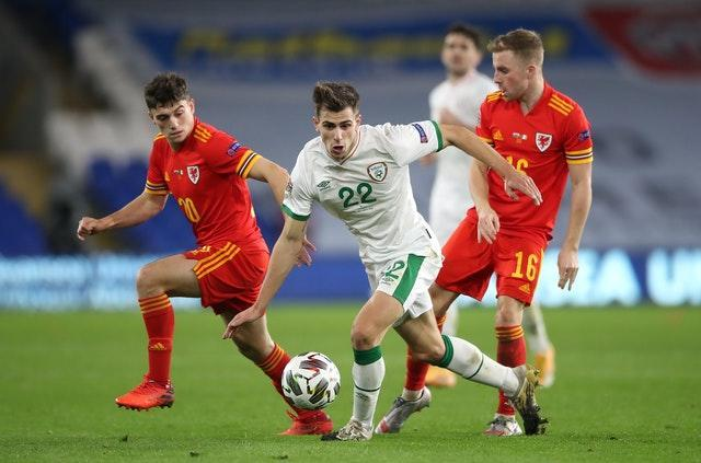 Republic of Ireland's Jayson Molumby (centre) was involved in an incident with Joe Morrell (right) during the match