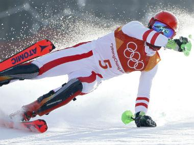 Austria's Marcel Hirscher crashes. Reuters