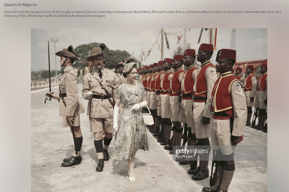 """<div class=""""paragraphs""""><p>A link to the article can be found <a href=""""https://www.gettyimages.in/detail/news-photo/queen-elizabeth-ii-inspects-men-of-the-newly-renamed-queens-news-photo/142487799"""" rel=""""nofollow noopener"""" target=""""_blank"""" data-ylk=""""slk:here"""" class=""""link rapid-noclick-resp"""">here</a>.</p></div>"""