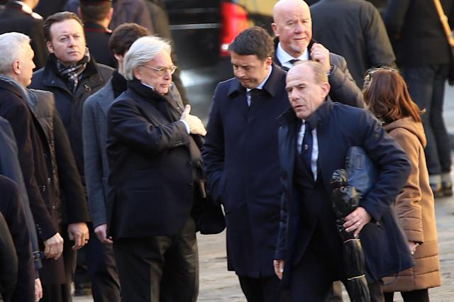 <p>Diego Della Valle of ACF Fiorentina and Matteo Renzi during the funeral of Davide Astori on March 8, 2018 in Florence, Italy. (Photo by Gabriele Maltinti/Getty Images) </p>