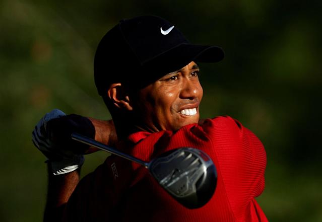 "<h1 class=""title"">The Masters Final Round</h1> <div class=""caption""> Tiger Woods watches his tee shot on the 15th tee during the final round of the 2005 Masters. </div> <cite class=""credit"">(Photo by David Cannon/Getty Images)</cite>"