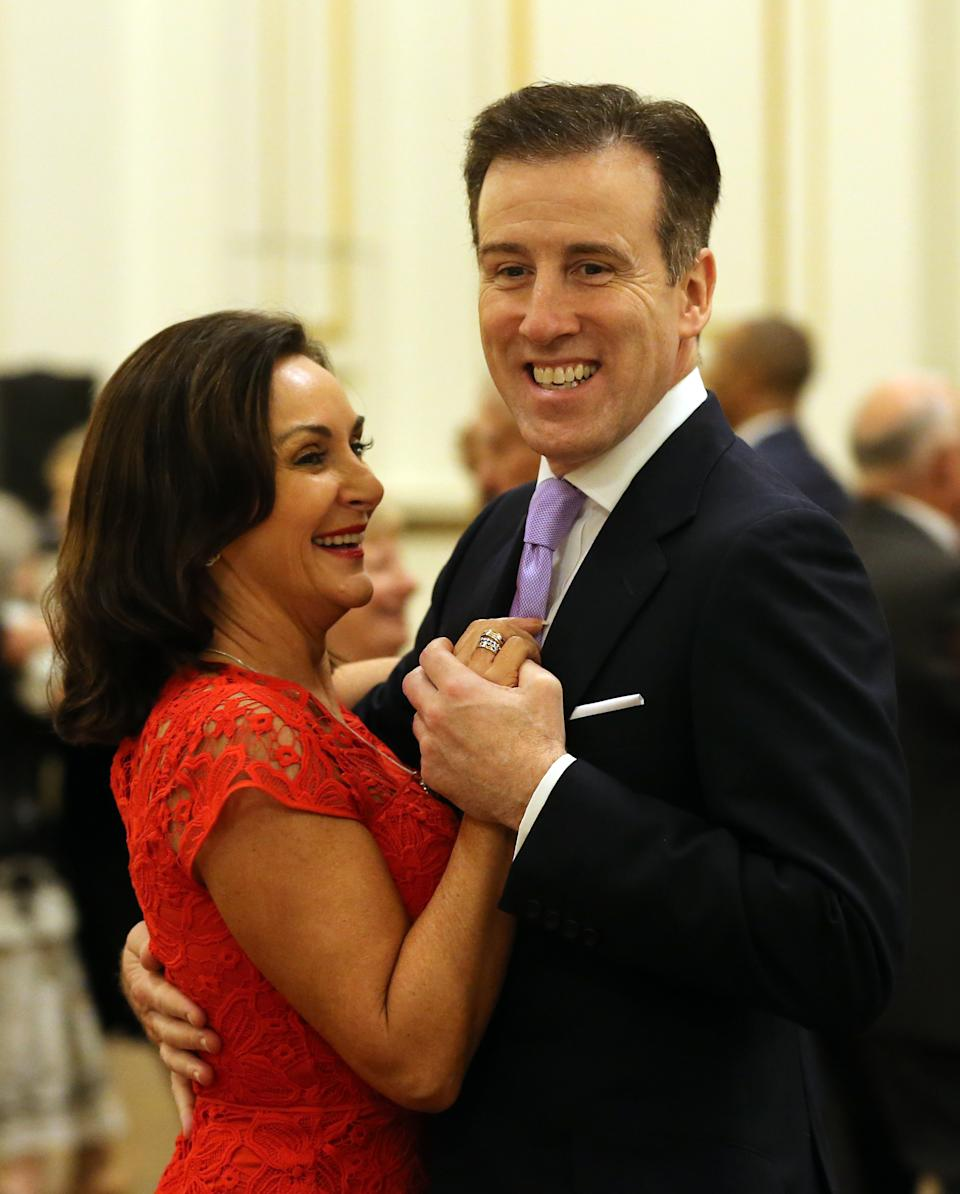 LONDON, UNITED KINGDOM - NOVEMBER 22: 'Strictly Come Dancing' Head Judge Shirly Ballas dances with 'Strictly Come Dancing' professional dancer Anton du Beke hosted by Camilla, Duchess of Cornwall, President of the National Osteoporosis Society, to highlight the benefits for older people of staying active, at Buckingham Palace on November 22, 2017 in London, United Kingdom. (Photo by Gareth Fuller - WPA Pool/Getty Images)
