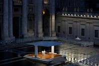 A general view shows Pope Francis (C) presiding over a moment of prayer in am empty St Peter's Square at the Vatican (AFP Photo/YARA NARDI)