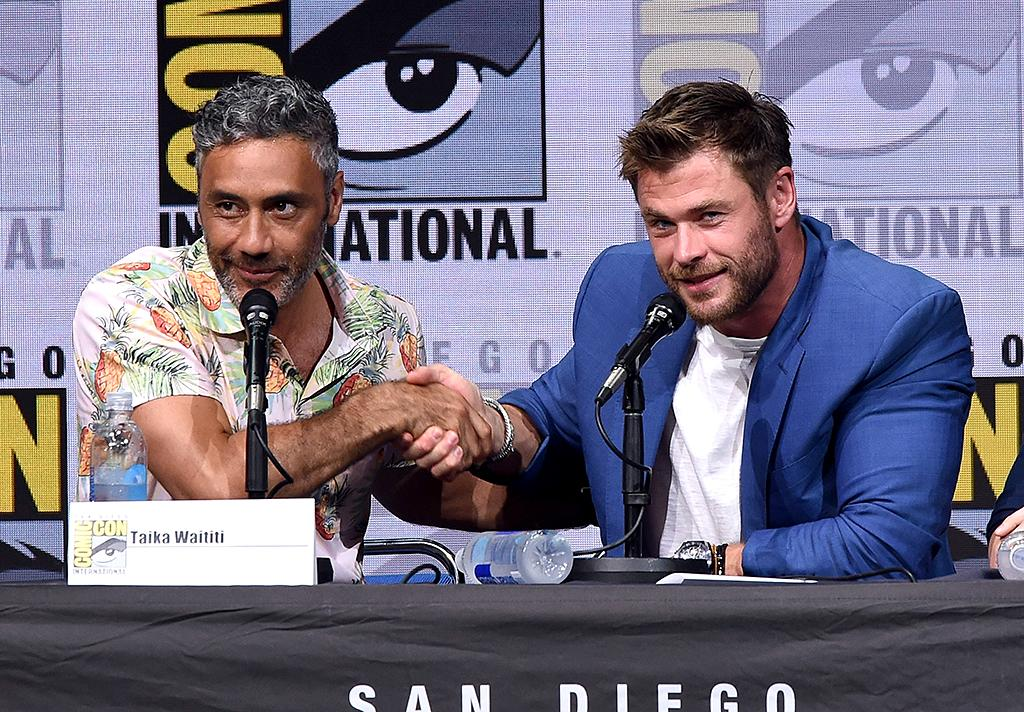 <p>Director Taika Waititi and Chris Hemsworth attend the Marvel Studios <em>Thor: Ragnarok</em> presentation during Comic-Con International 2017 at San Diego Convention Center on July 22, 2017. (Photo by Kevin Winter/Getty Images) </p>