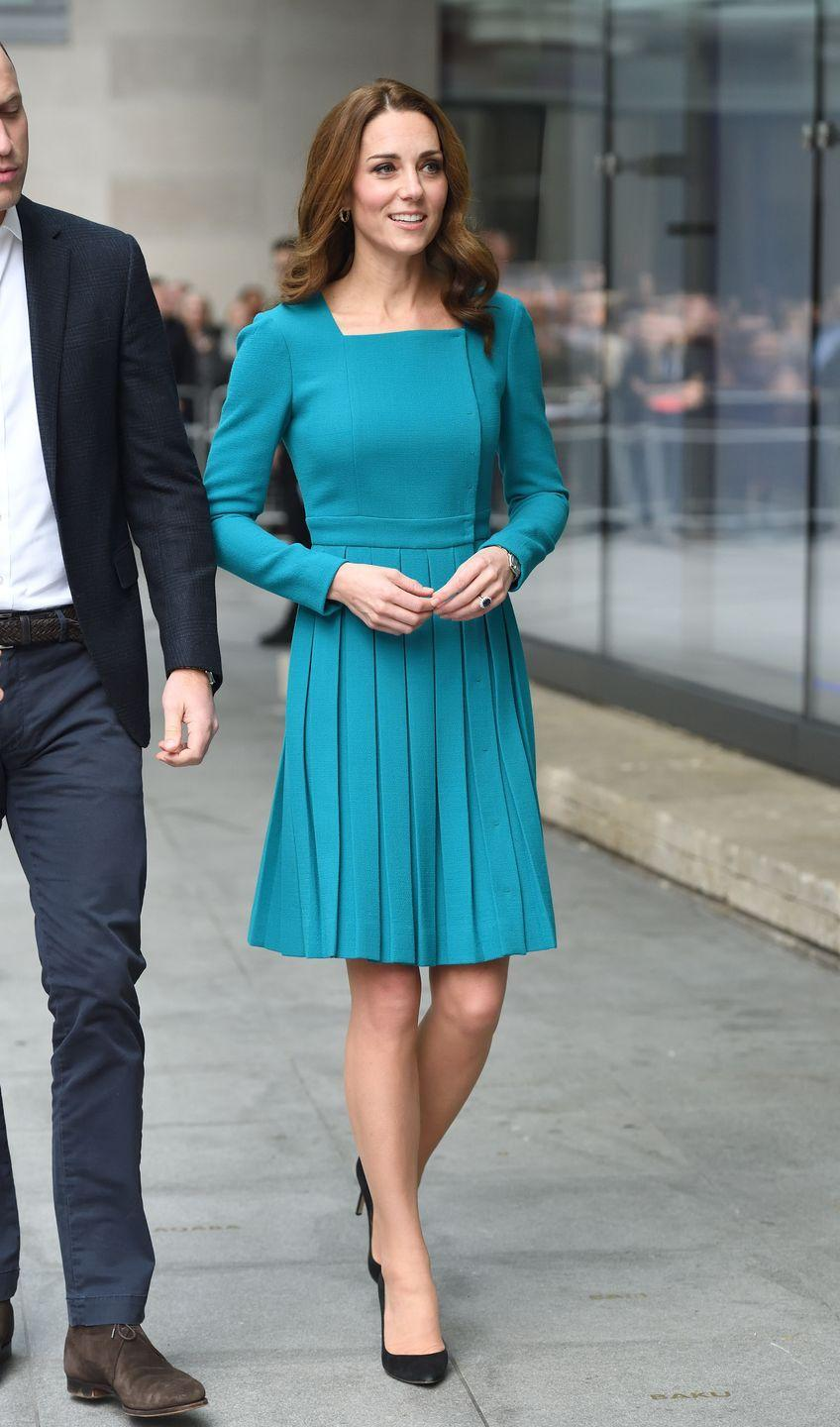 """<p>The Duke and Duchess of Cambridge visited the BBC headquarters to discuss William's Taskforce on the Prevention of Cyberbullying. Kate wore a turquoise <a href=""""https://www.modaoperandi.com/emilia-wickstead"""" rel=""""nofollow noopener"""" target=""""_blank"""" data-ylk=""""slk:Emilia Wickstead"""" class=""""link rapid-noclick-resp"""">Emilia Wickstead</a> dress, recycled from an appearance in 2014, paired with <a href=""""https://www.lkbennett.com/Occasionwear/Occasion-Shoes"""" rel=""""nofollow noopener"""" target=""""_blank"""" data-ylk=""""slk:black heels from LK Bennet"""" class=""""link rapid-noclick-resp"""">black heels from LK Bennet</a> for the visit.</p>"""