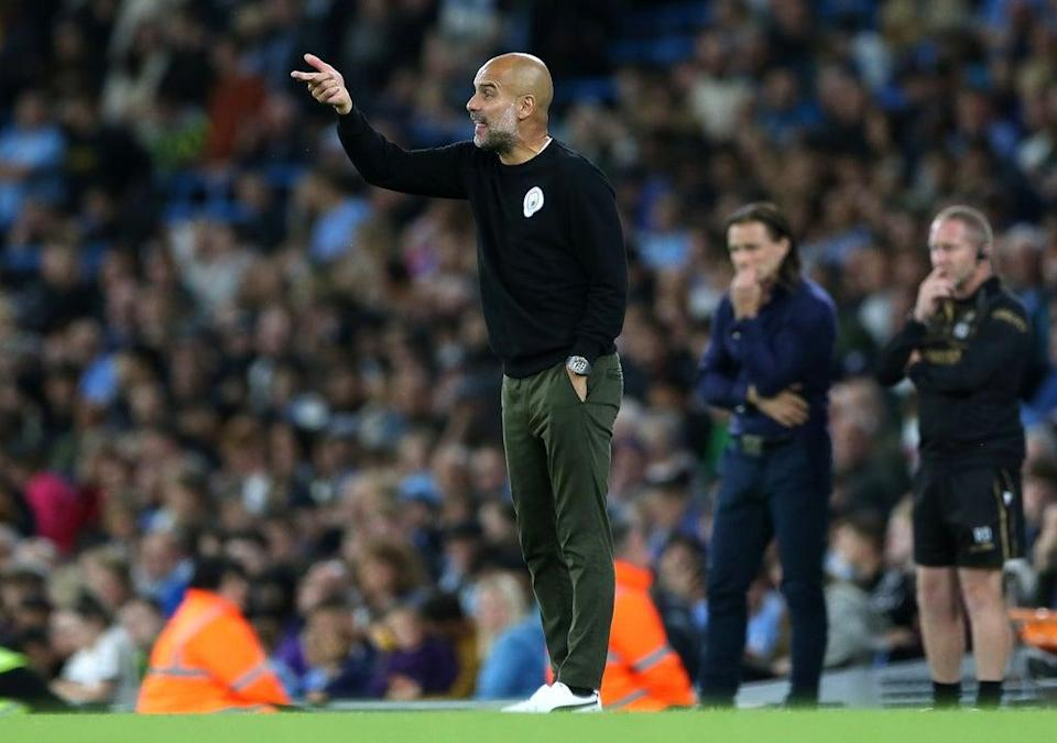 Pep Guardiola was left impressed by Manchester City's young prospects in Tuesday's win over Wycombe (Barrington Coombs/PA) (PA Wire)