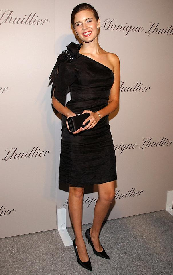 """Former """"Lost"""" star Maggie Grace is all smiles in her elegant black cocktail dress. Jean-Paul Aussenard/<a href=""""http://www.wireimage.com"""" target=""""new"""">WireImage.com</a> - October 10, 2007"""