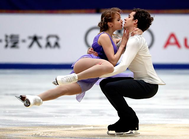 <p>Angelique Abachkina, left, and Louis Thauron of France compete in the Ice Dance Free Dance during the Audi Cup of China ISU Grand Prix of Figure Skating 2017 at the Capital Gymnasium in Beijing, Saturday, Nov. 4, 2017. (AP Photo/Mark Schiefelbein) </p>