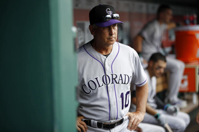 Colorado Rockies manager Bud Black walks in the dugout before the first baseball game of a doubleheader against the Washington Nationals, Wednesday, July 24, 2019, in Washington. (AP Photo/Patrick Semansky)