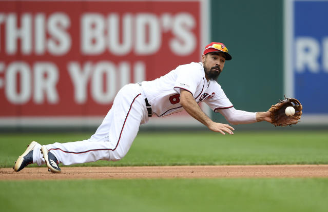 FILE - In this Sept. 1, 2019, file photo, Washington Nationals third baseman Anthony Rendon makes a catch on a line drive by Miami Marlins' Miguel Rojas during the seventh inning of a baseball game in Washington. Rendon is another NL contender for MVP. He emerged as the Nationals fought their way to the postseason after a poor start. The voting is done before the playoffs, so Rendons postseason wont be a factor, but hed already done plenty before that. (AP Photo/Nick Wass, File)