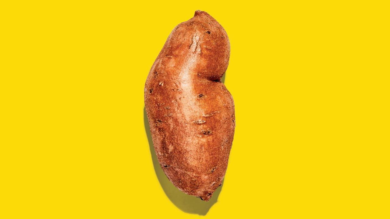 Sweet potatoes are available year-round, but the peak growing season runs from fall through early winter. Choose tubers with smooth skins, firm pointed ends, and no soft spots. And while they may look tough,  sweet potatoes can bruise quite easily. Keep them in a cool, dry place and use within a week. If using unpeeled, just give them a scrub first.