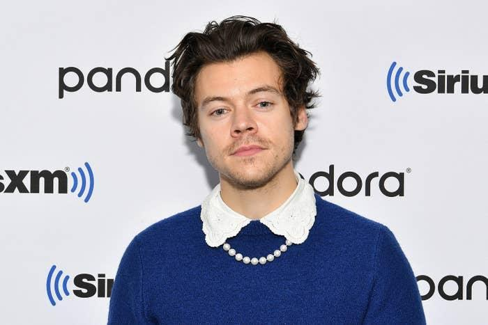 Harry Styles is pictured at SiriusXM Studios in 2020