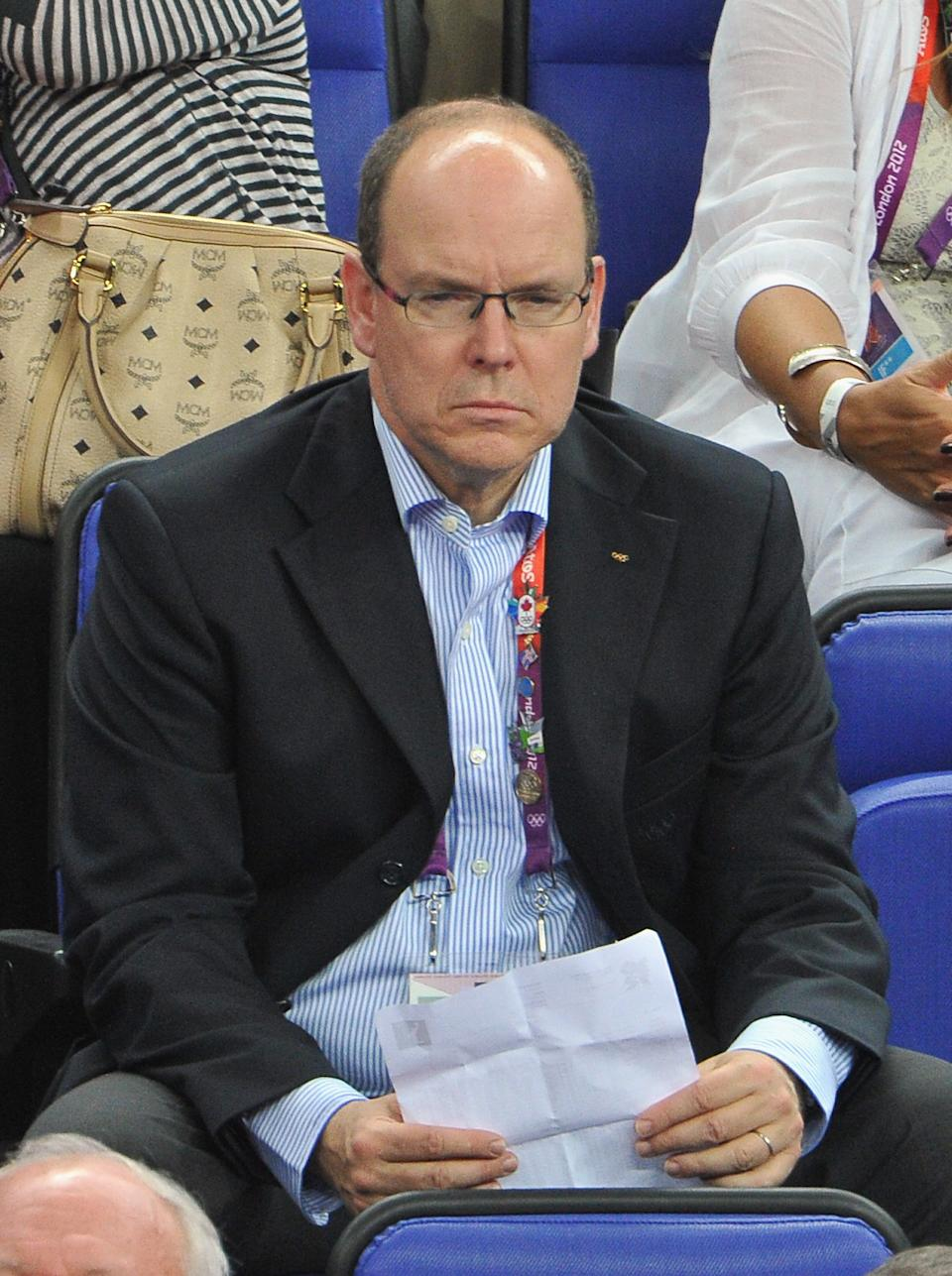 LONDON, ENGLAND - AUGUST 12: Prince Albert II of Monaco during the Men's Basketball gold medal game between the United States and Spain on Day 16 of the London 2012 Olympics Games at North Greenwich Arena on August 12, 2012 in London, England. (Photo by Pascal Le Segretain/Getty Images)