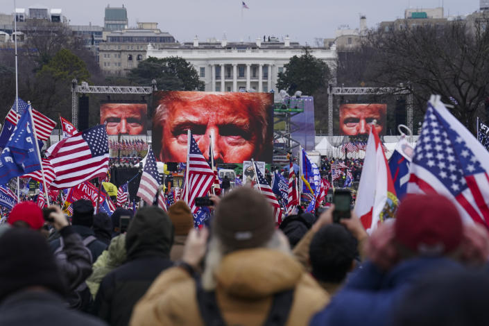 In this Jan. 6, 2021 file photo, Trump supporters participate in a rally in Washington prior to the deadly assault on the U.S. Capitol. (John Minchillo/AP)