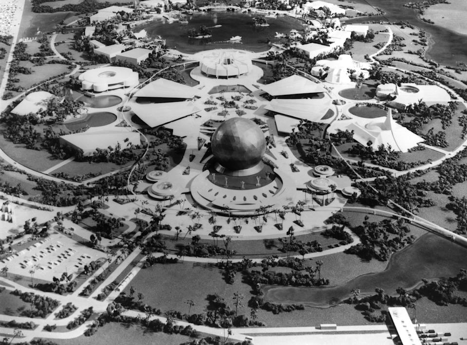 Walt Disney imagined a showcase for innovation with cutting edge of technology. On Oct. 1, 1978, Card Walker, the former president of Walt Disney Productions, revealed plans for Epcot, which opened on Oct. 1, 1982. (Getty Images)