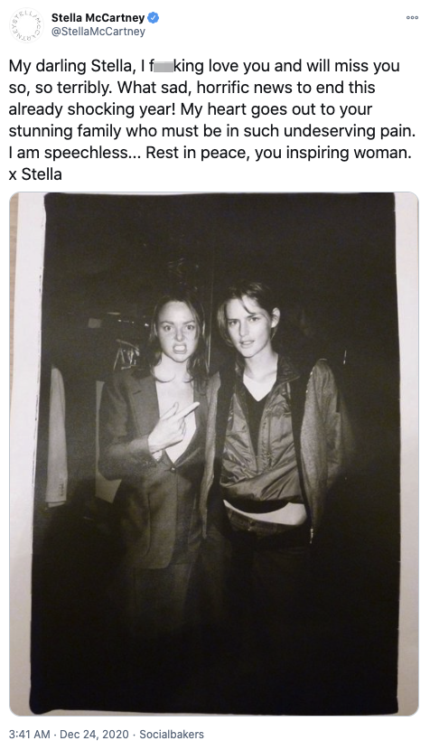 """Stella McCartney shared a tribute, writing that the news was """"horrific"""". Photo: Twitter"""