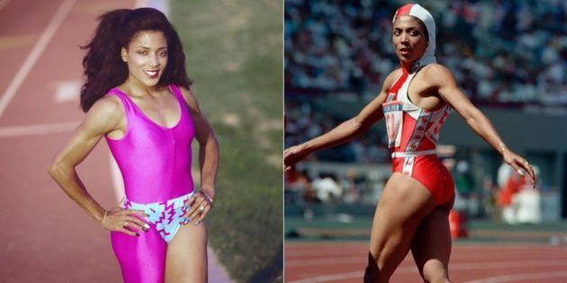 Flo-Jo's custom track suits were strikingly unique from other runners' looks. (Photo: Getty Images)