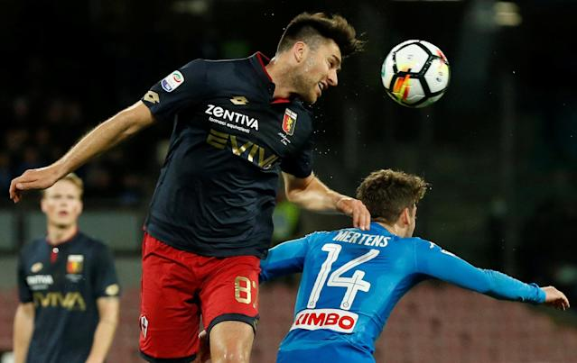 Soccer Football - Serie A - Napoli vs Genoa - Stadio San Paolo, Naples, Italy - March 18, 2018 Genoa's Ervin Zukanovic in action with Napoli's Dries Mertens REUTERS/Ciro De Luca