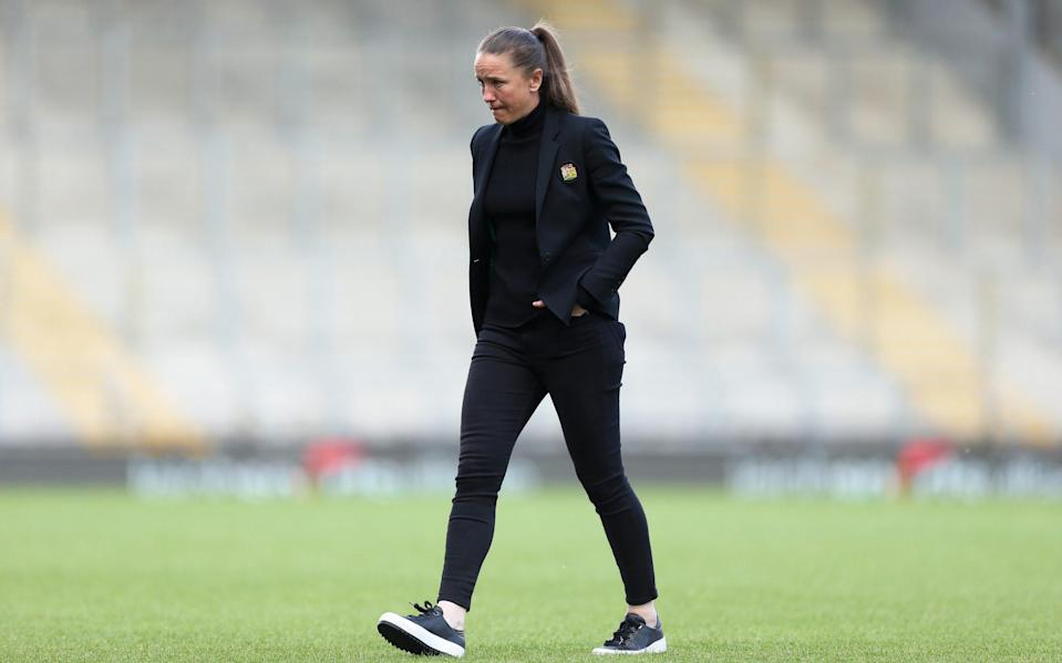 Casey Stoney, Manager of Manchester United looks dejected after the Vitality Women's FA Cup 5th Round match between Manchester United and Leicester City at Leigh Sports Village on May 16, 2021 in Leigh, England. - GETTY IMAGES