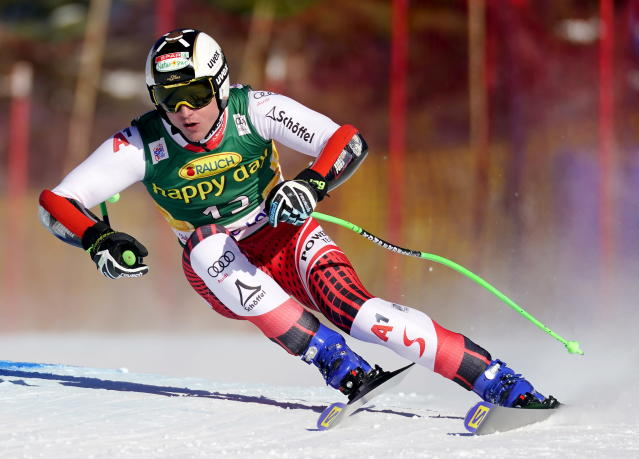 Hannes Reichelt, of Austria, skis down the course during the men's World Cup super-G ski race in Lake Louise, Alberta, Sunday, Dec. 1, 2019. (Frank Gunn/The Canadian Press via AP)