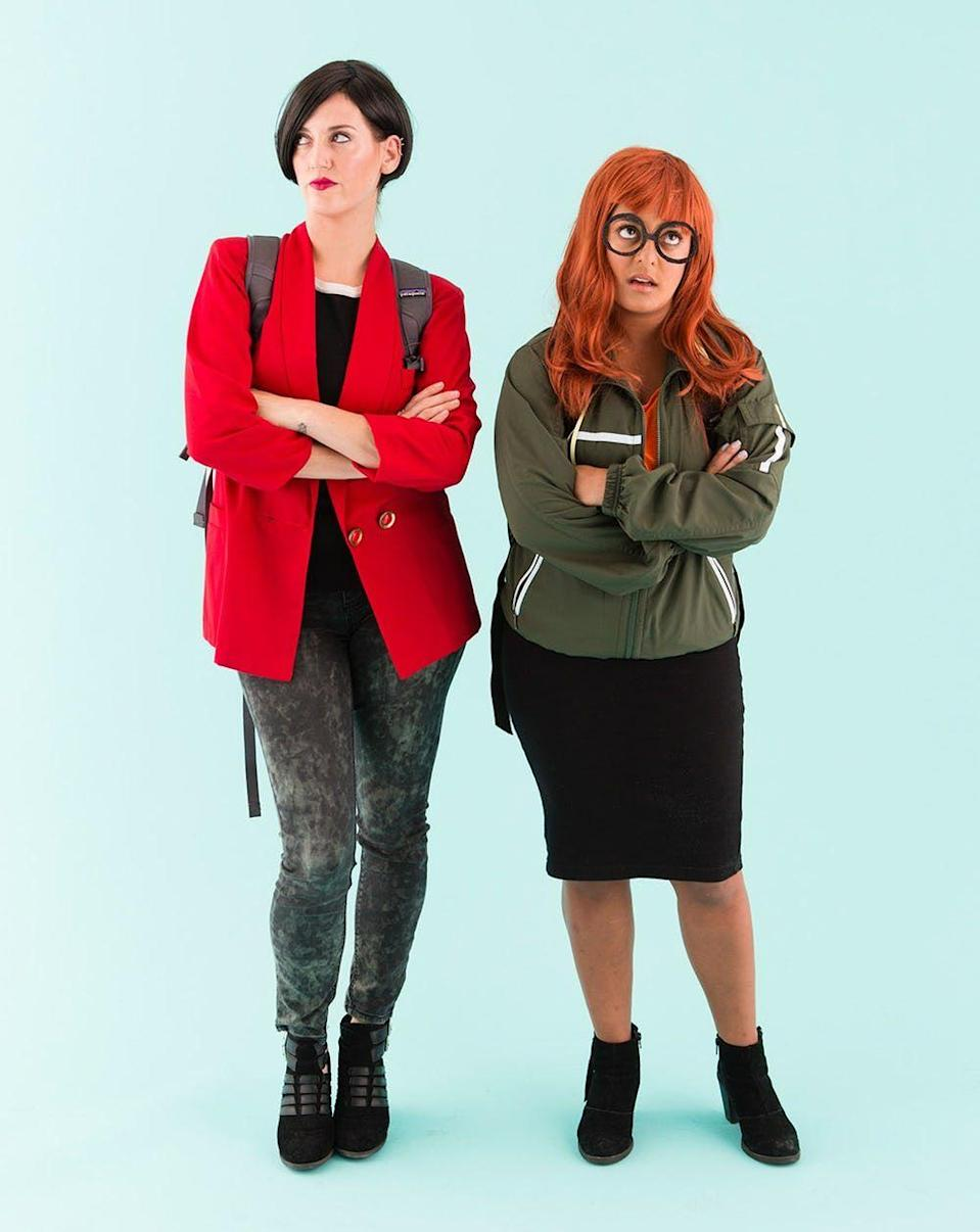 """<p>La la la la la ... dressing up as BFFs Daria Morgendorffer and Jane Lane couldn't be easier, since you probably already have everything you need in your closet.</p><p><em><a href=""""https://www.brit.co/90s-bff-halloween-costumes/"""" rel=""""nofollow noopener"""" target=""""_blank"""" data-ylk=""""slk:See more at Brit + Co. »"""" class=""""link rapid-noclick-resp"""">See more at Brit + Co. »</a></em></p><p><strong>RELATED:</strong> <a href=""""https://www.goodhousekeeping.com/beauty/makeup/g28172969/best-90s-makeup-looks/"""" rel=""""nofollow noopener"""" target=""""_blank"""" data-ylk=""""slk:Best '90s Makeup Looks That Will Make You Want to Host a Throwback Party"""" class=""""link rapid-noclick-resp"""">Best '90s Makeup Looks That Will Make You Want to Host a Throwback Party</a><br></p>"""