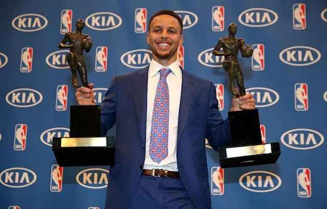"We'll have to wait for a TV show to find out if <a class=""link rapid-noclick-resp"" href=""/nba/players/4612/"" data-ylk=""slk:Stephen Curry"">Stephen Curry</a> wins a third straight MVP honor. (Getty Images)"
