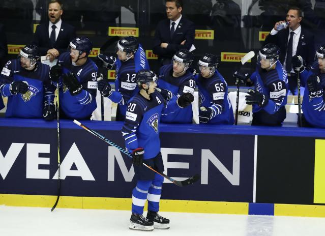 Ice Hockey - 2018 IIHF World Championships - Group B - Finland v USA - Jyske Bank Boxen - Herning, Denmark - May 15, 2018 - Sebastian Aho of Finland celebrates with teammates after scoring. REUTERS/David W Cerny