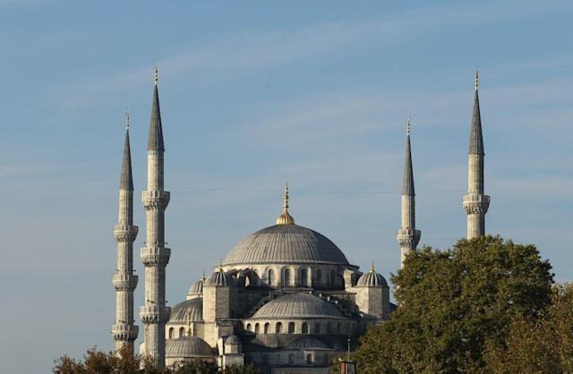 """<b>ISTANBUL, TURKEY:</b> The iconic Sultanahmet Mosque in Istanbul, Turkey is a masterpiece of Ottoman and Byzantine architectural traditions. <br><br><a href=""""http://in.lifestyle.yahoo.com/photos/istanbul-where-asia-and-europe-meet-slideshow/"""" data-ylk=""""slk:View more photos of Istanbul;outcm:mb_qualified_link;_E:mb_qualified_link"""" class=""""link rapid-noclick-resp newsroom-embed-article"""">View more photos of Istanbul</a>"""