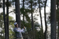 Dylan Frittelli, of South Africa, watches his tee shot on the fourth hole during the third round of the Masters golf tournament Saturday, Nov. 14, 2020, in Augusta, Ga. (AP Photo/David J. Phillip)
