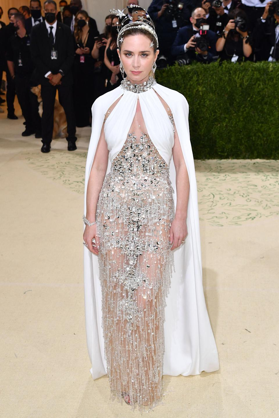 British actress Emily Blunt arrives for the 2021 Met Gala at the Metropolitan Museum of Art on September 13, 2021 in New York. - This year's Met Gala has a distinctively youthful imprint, hosted by singer Billie Eilish, actor Timothee Chalamet, poet Amanda Gorman and tennis star Naomi Osaka, none of them older than 25. The 2021 theme is