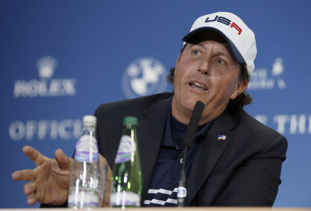 FILE - In this Sept. 28, 2014, file photo, Phil Mickelson, of the United States, speaks during a news conference after Europe won the 2014 Ryder Cup golf tournament at Gleneagles, Scotland. Mickelson was the key figure in the U.S. developing a model it thinks will turn the tide in the Ryder Cup. (AP Photo/Alastair Grant, File)