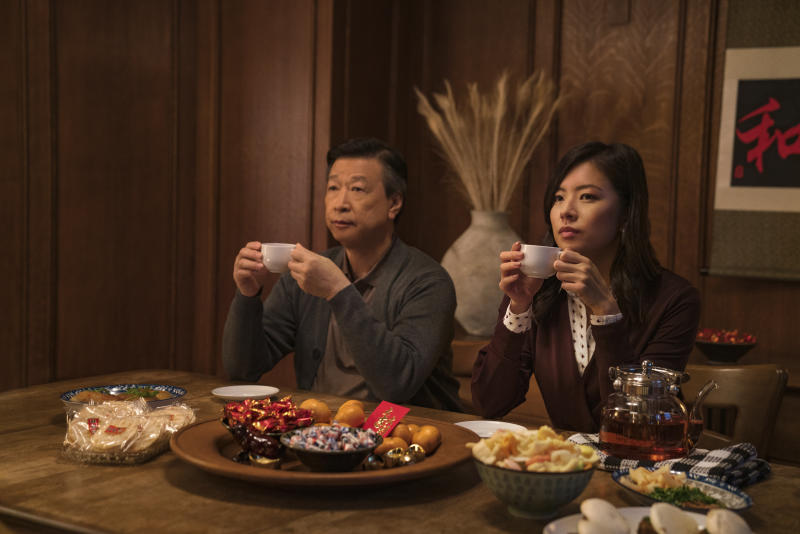 """This image released by Netflix shows Tzi Ma, left, and and Christine Ko in a scene from """"Tigertail."""" (Sarah Shatz/Netflix via AP)"""