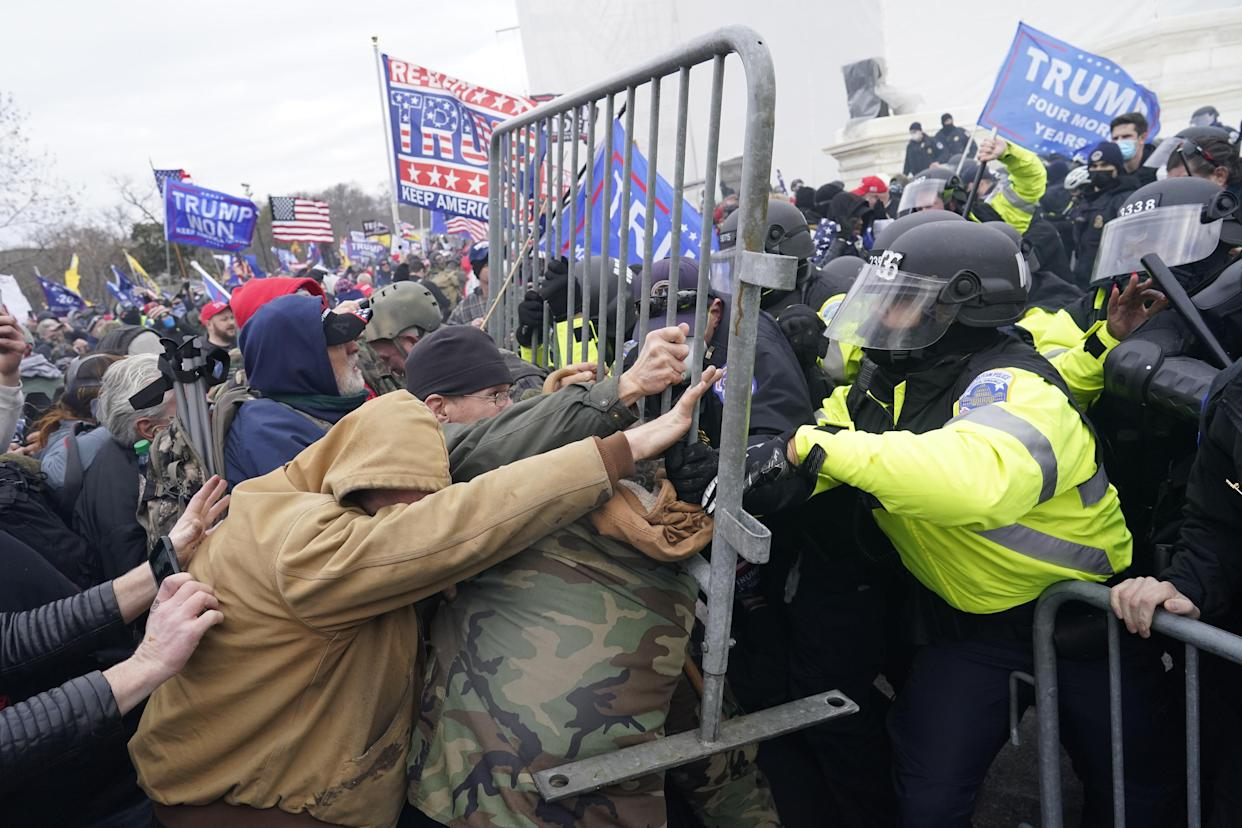 Protesters gather on the second day of pro-Trump events fueled by President Donald Trump's continued claims of election fraud in an to overturn the results before Congress finalizes them in a joint session of the 117th Congress on Wednesday, Jan. 6, 2021 in Washington, DC. (Kent Nishimura/Los Angeles Times via Getty Images)