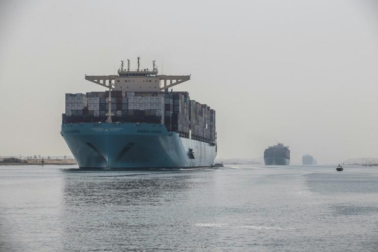 The world's largest container ships can now sail down the Suez Canal thanks to an extension opened in 2015 (AFP Photo/Khaled DESOUKI)