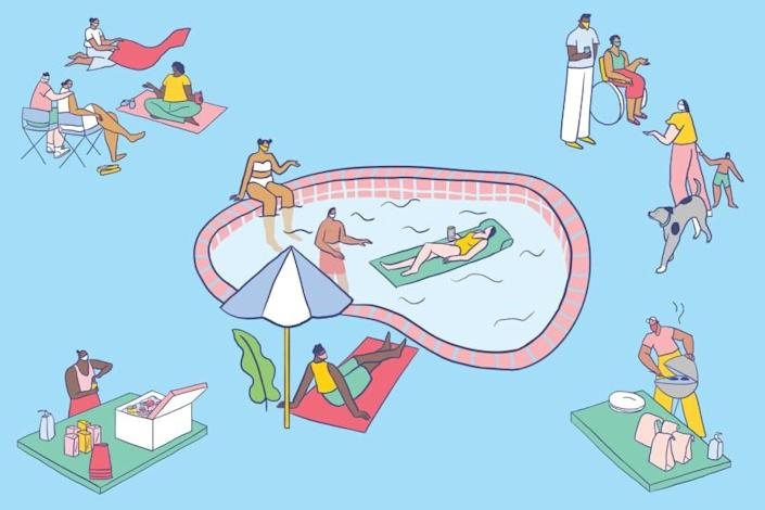 """One tip for safer gatherings? Keep everyone outside, where the novel coronavirus is less likely to spread. <span class=""""copyright"""">(Alexandra Bowman / For The Times)</span>"""